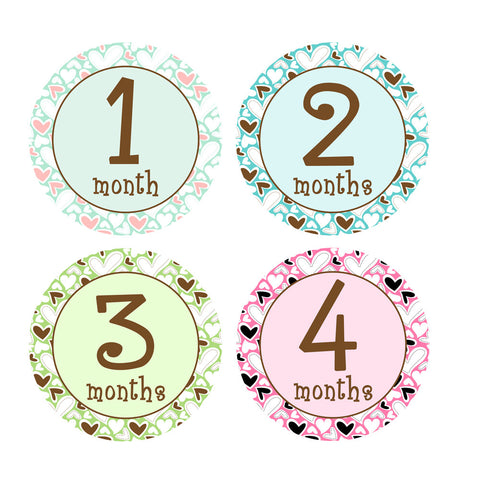 Hearts Galore Monthly Baby Stickers