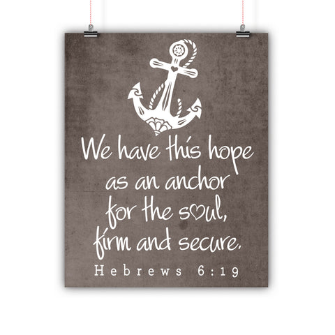 Bible Artwork Hebrews 6:19 Grunge Background Poster, Print, Framed or Canvas