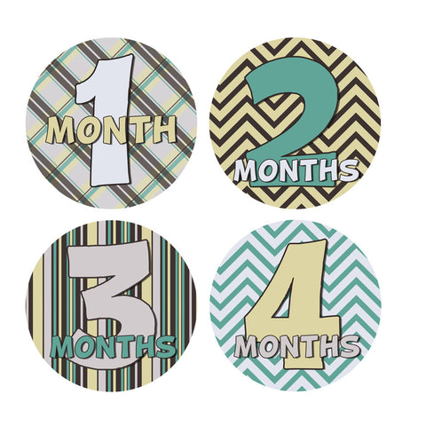 Hipster Plaid, Chevron & Stripes  Monthly Baby Stickers