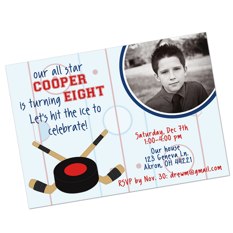 Ice Hockey Digital Birthday Invitation