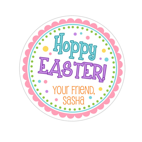 Happy Easter Blue and Purple Personalized Easter Sticker