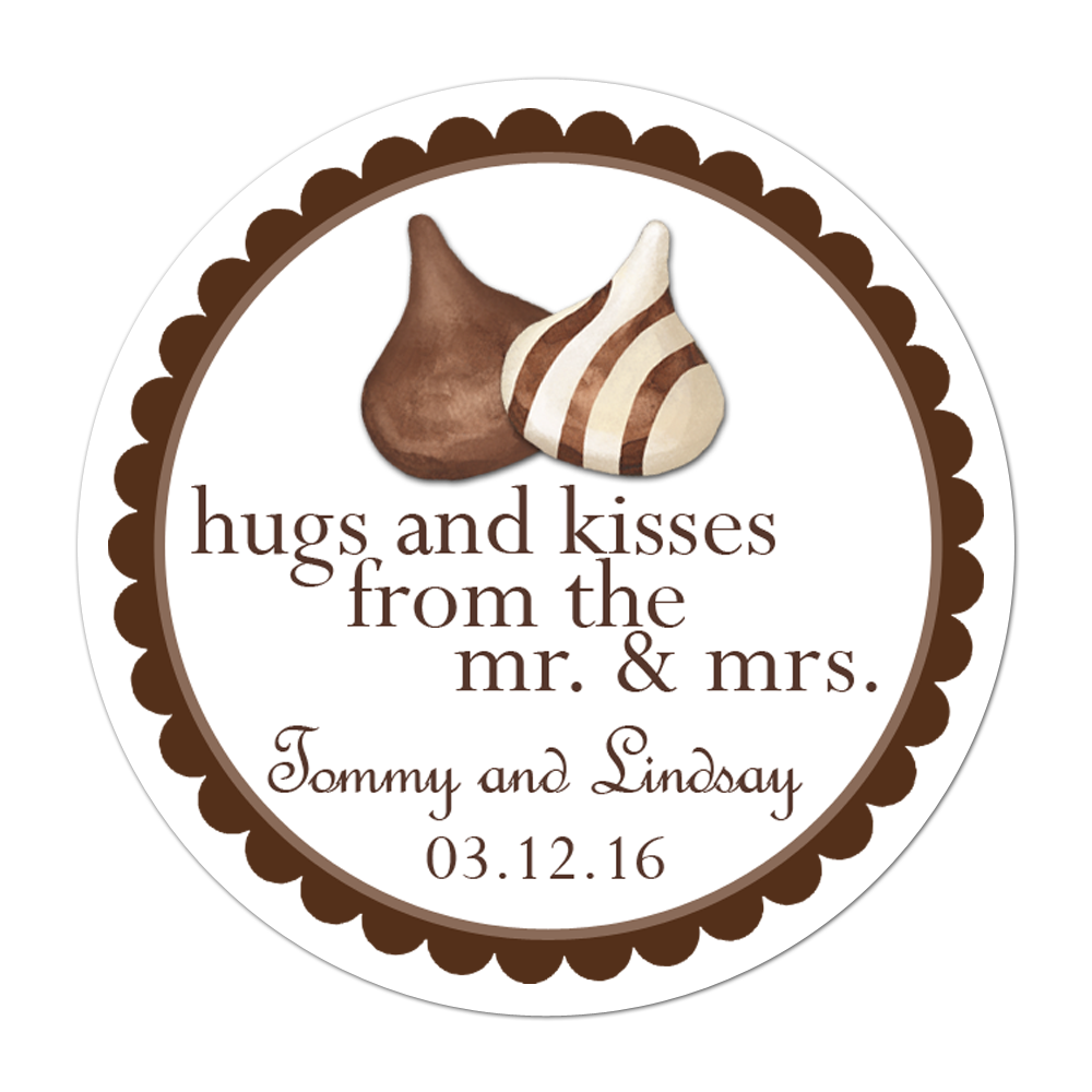 Hershey Hugs and Kisses Personalized Sticker Wedding Stickers - INKtropolis