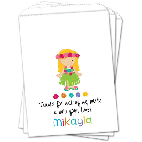 Blonde Luau Girl Birthday Favor Bags