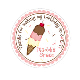 Neopolitan Ice Cream Cone Personalized Sticker Birthday Stickers - INKtropolis