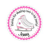 Pink Ice Skates Personalized Sticker Birthday Stickers - INKtropolis