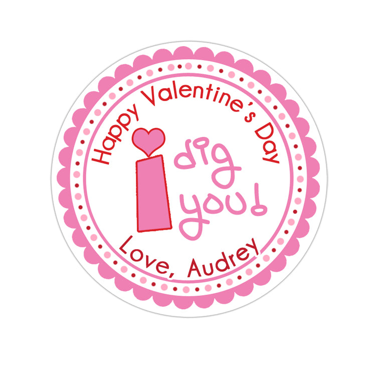 Girl I Dig You Valentines Day Personalized Sticker Valentines Day Stickers - INKtropolis