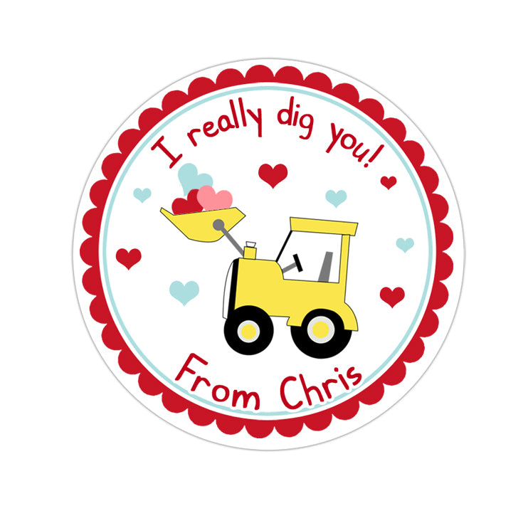 Scallop Border Backhoe Valentines Day Personalized Sticker Valentines Day Stickers - INKtropolis