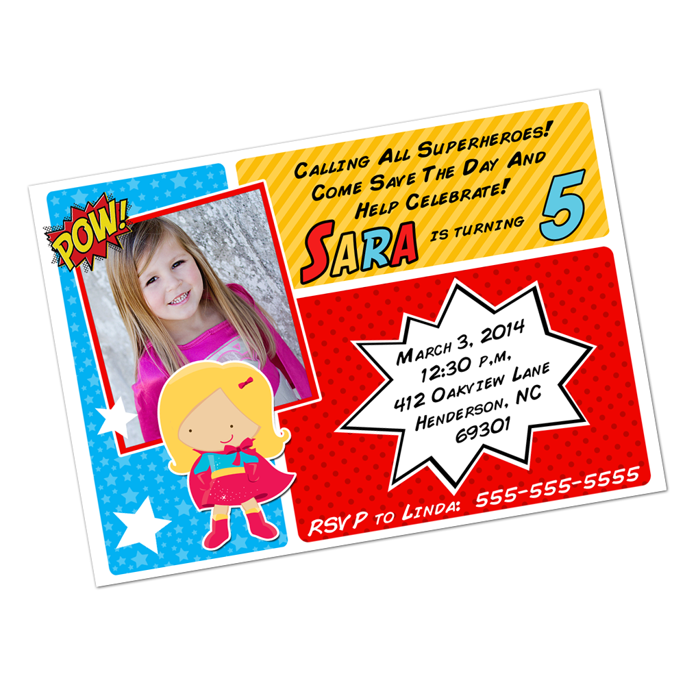 Blonde Superhero Girl Digital Invitation Digital Invitations - INKtropolis