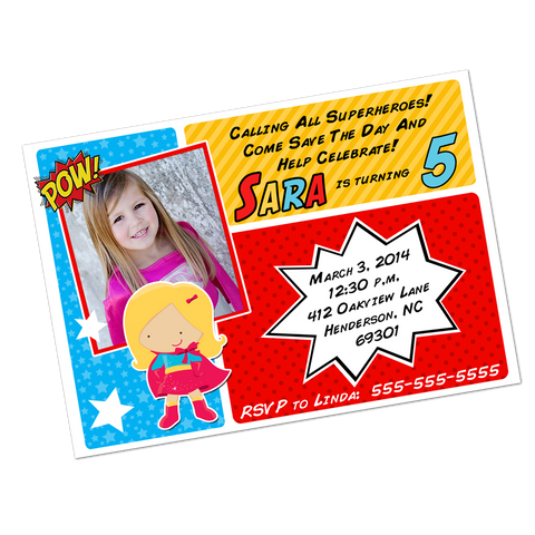 Blonde Superhero Girl Digital Invitation