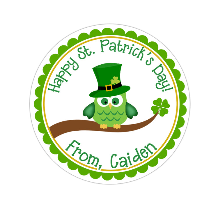 St Patricks Day Owl Personalized Sticker Other Holiday Stickers - INKtropolis