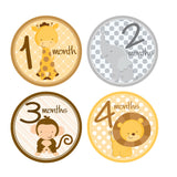 Baby Animals Monthly Baby Stickers onesie sticker - INKtropolis