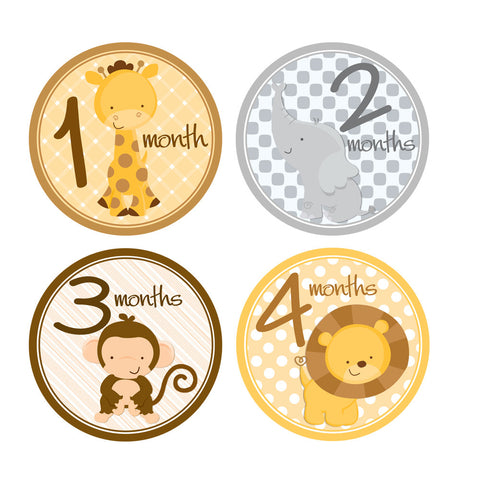 Baby Animals Baby Month Stickers