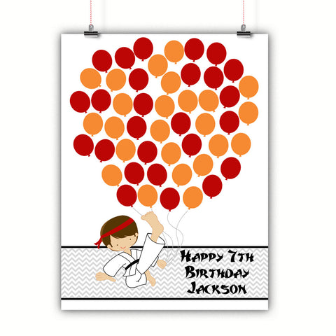 Personalized Birthday Guest Book Alternative - Karate Boy Balloons - Customized Poster, Print, Framed or Canvas, 50 Signatures