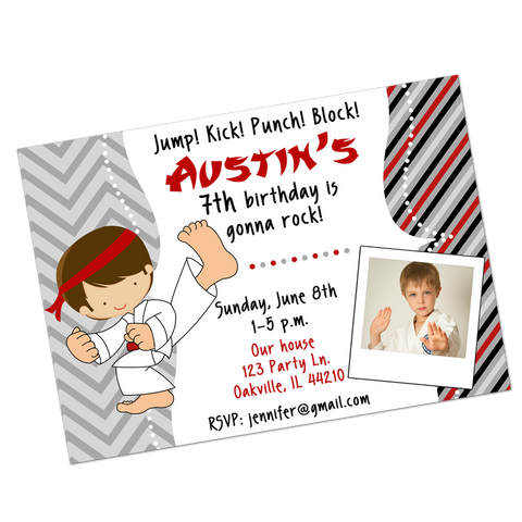Karate Boy Digital Birthday Invitation