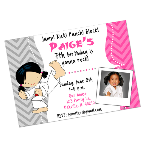 Karate Girl Digital Birthday Invitation