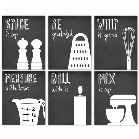 Chalkboard Cooking Sayings Kitchen Artwork Decor, Poster, Print, Framed or Canvas - Set of 6
