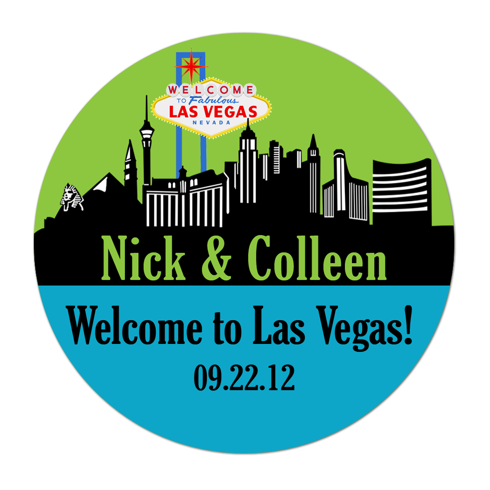 Las Vegas Skyline Personalized Sticker Wedding Stickers - INKtropolis