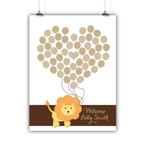 Personalized Baby Shower Guest Book Alternative - Lion