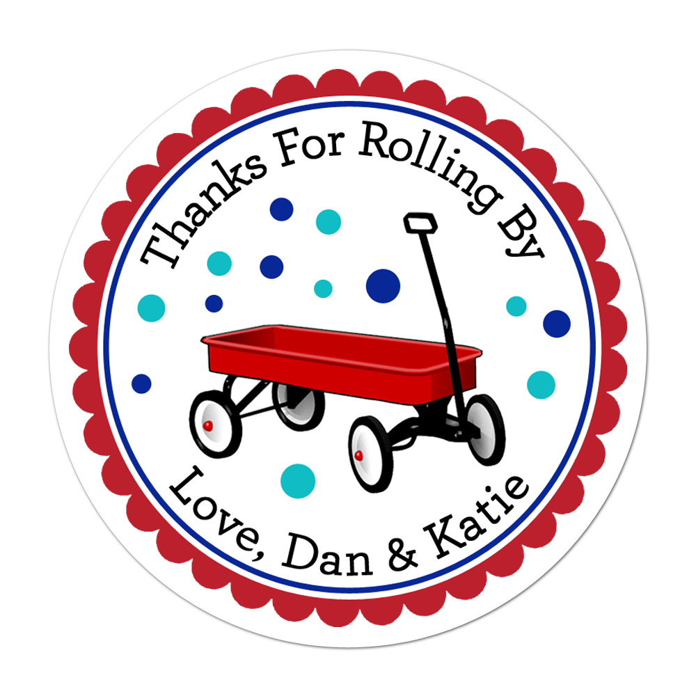 Little Red Wagon Personalized Sticker Baby Shower Stickers - INKtropolis