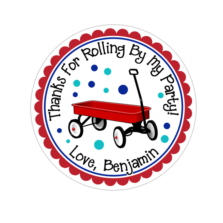 Little Red Wagon Personalized Sticker Birthday Stickers - INKtropolis