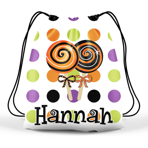 Personalized Halloween Trick Or Treat Bag, Kids Drawstring Bag - Lollipops
