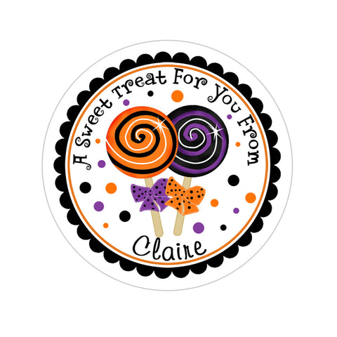 Purple And Orange Lollipops Personalized Sticker