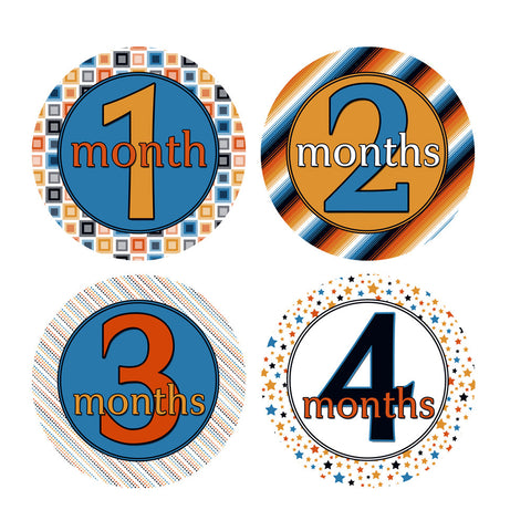 Blue, Orange, Black & White Patterned Monthly Baby Stickers