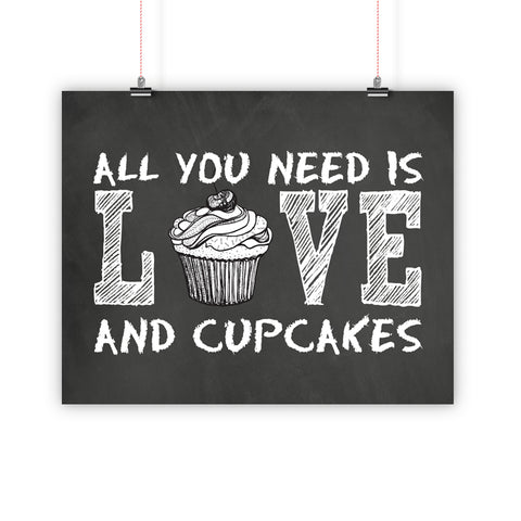 Love And Cupcakes Kitchen Wall Art