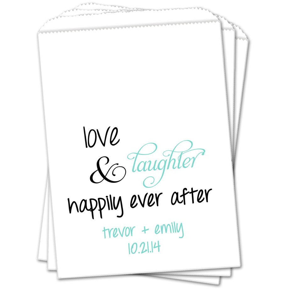 Love Laughter And Happily Ever After Wedding Favor Bags - Sets of 25 Wedding Favor Bags - INKtropolis