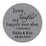 Love Laughter and Happily Ever After Personalized Sticker Wedding Stickers - INKtropolis