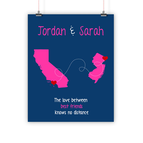 Best Friend Christmas Gift, Long Distance Relationship Map