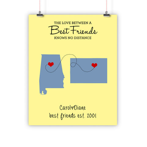 Best Friend Christmas Gift, Long Distance Relationship Map, Print, Framed or Canvas