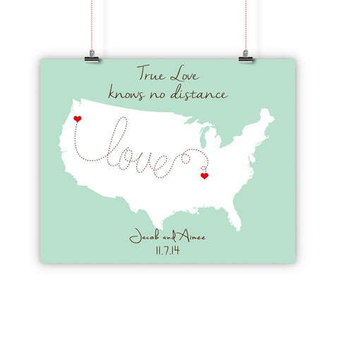 Couples Gift, Boyfriend, Girlfriend, Fiance, Long Distance Relationship Map, True Love knows no distance Print, Framed or Canvas