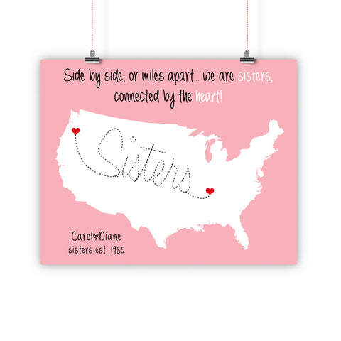 Sister Christmas Gift, Long Distance Relationship Map, Print, Framed or Canvas
