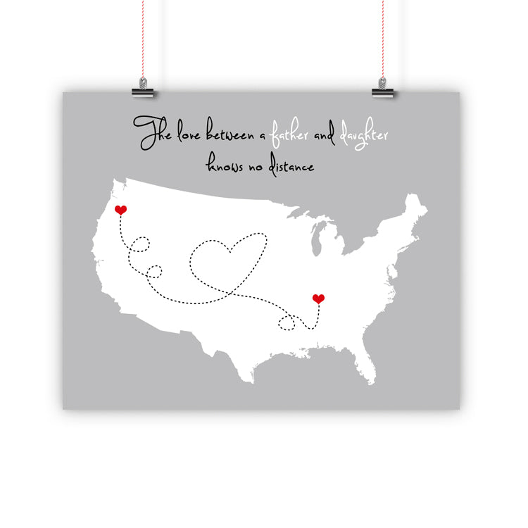 Father's Day Christmas Gift, Long Distance Relationship Map, Father and Son, Daughter, Print, Framed or Canvas map - INKtropolis