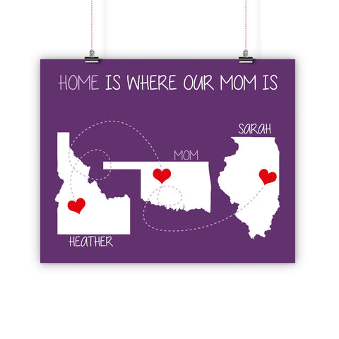 Birthday Christmas Gift For Mom, Father Family Long Distance Relationship Map, Home Is Where, Print, Framed or Canvas
