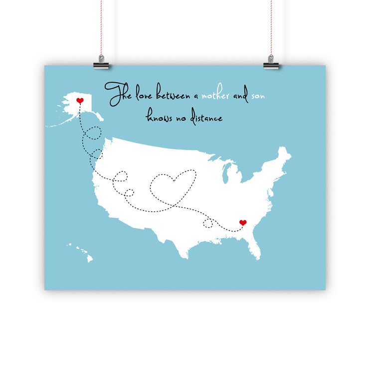 Mothers Day Birthday Christmas Gift For Mom, Father Long Distance  Relationship Map, Mother and Daughter, Print, Framed or Canvas
