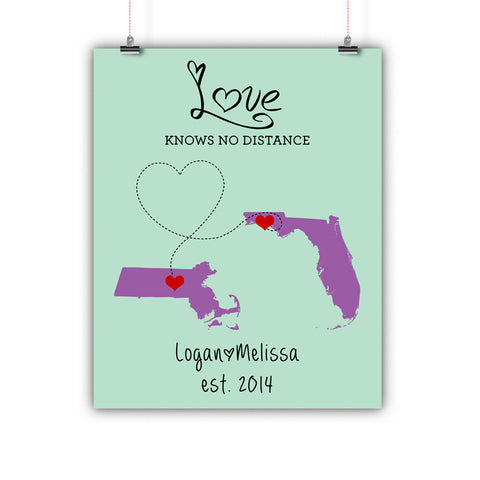 Couples Gift, Boyfriend, Girlfriend, Fiance, Long Distance Relationship Map, Print, Framed or Canvas