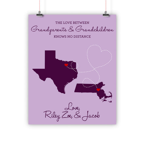 Grandparent's Day Gift, Long Distance Relationship Map, Grandma, Grandpa, Print, Framed or Canvas