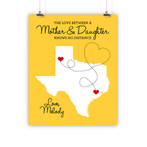 Mother's Day Gift Christmas Gift, Birthday Father Long Distance Relationship Map, Mother and Daughter, Print, Framed or Canvas