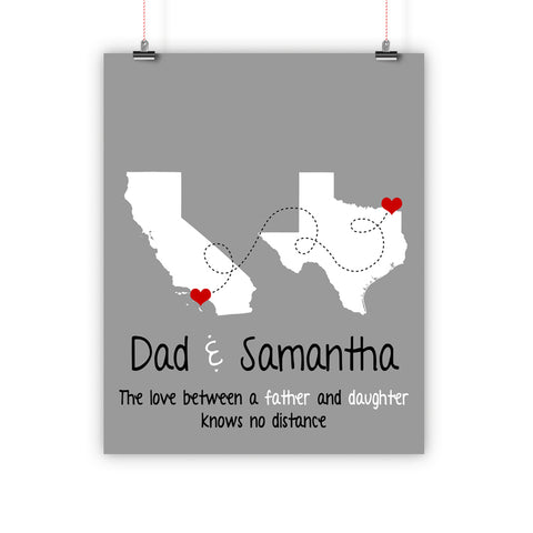 Father's Day Christmas Gift, Long Distance Relationship Map, Father and Son, Daughter, Print, Framed or Canvas