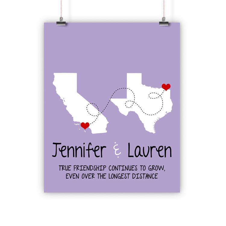 Best Friend Christmas Gift, Long Distance Relationship Map, Print, Framed or Canvas … map - INKtropolis