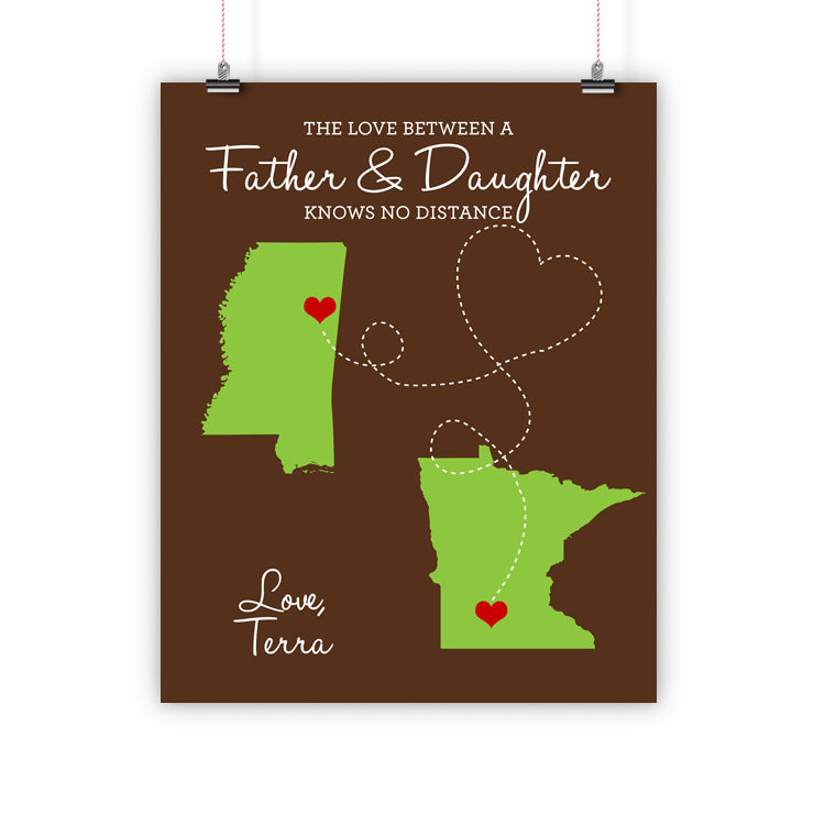 Father's Day Christmas Gift, Long Distance Relationship Map, Father and Daughter, Print, Framed or Canvas … map - INKtropolis