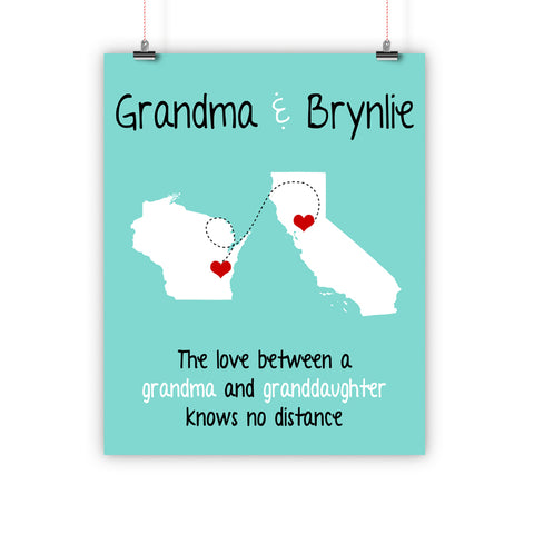 Grandparent's Day Gift, Long Distance Relationship Map, Grandma, Grandpa, Print, Framed or Canvas …