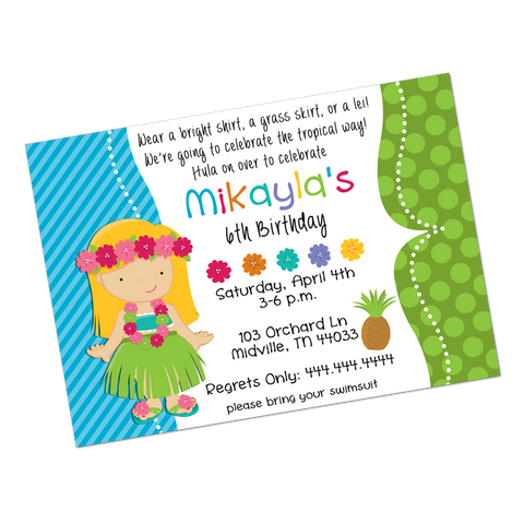 Blonde Luau Girl Digital Birthday Invitation
