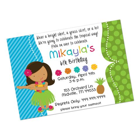Brunette Luau Girl Digital Birthday Invitation