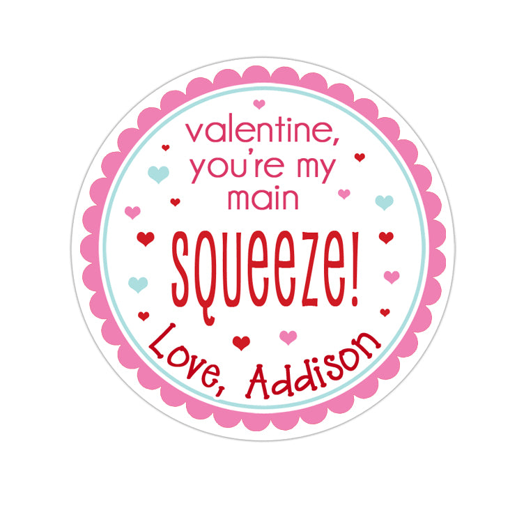 Main Squeeze Valentines Day Personalized Sticker Valentines Day Stickers - INKtropolis