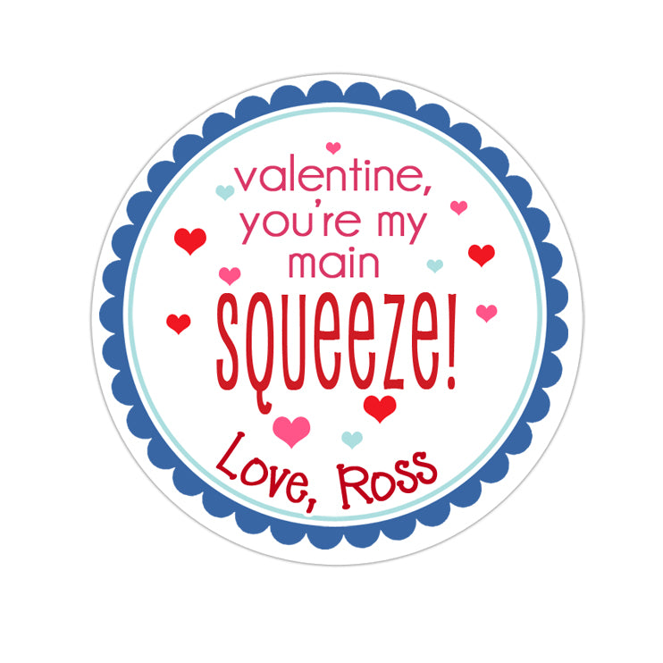 Blue Main Squeeze Valentines Day Personalized Sticker Valentines Day Stickers - INKtropolis