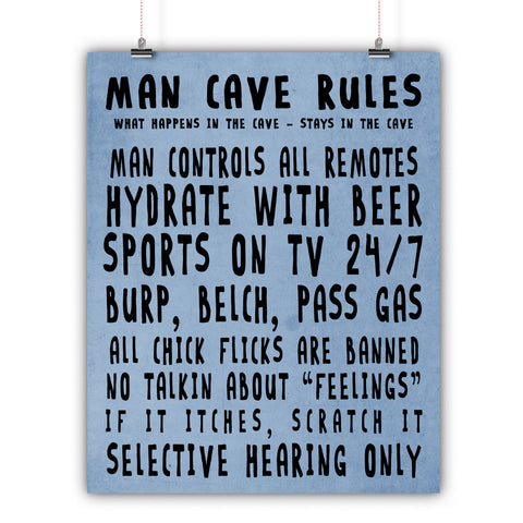 Man Cave Rules - Man Cave Wall Art