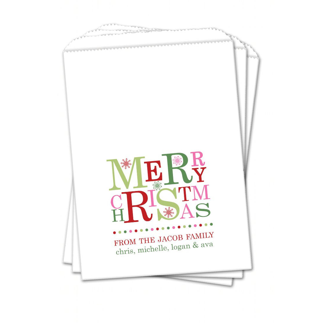Merry Christmas Pink Red Green Christmas Favor Bags - Sets of 25 ...